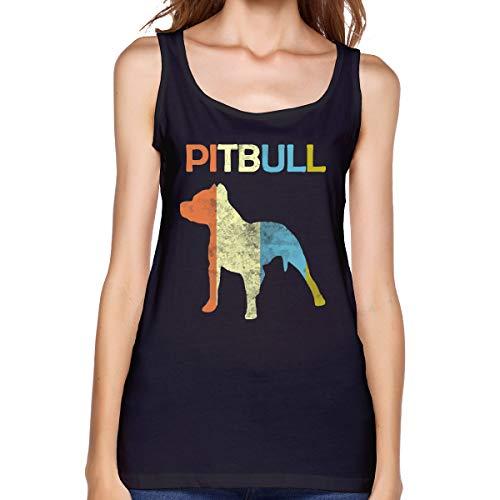 Pitbull Vintage Women's Tank Tops Undershirts Soft Summer Sleeveless T-Shirts for Women Black ()