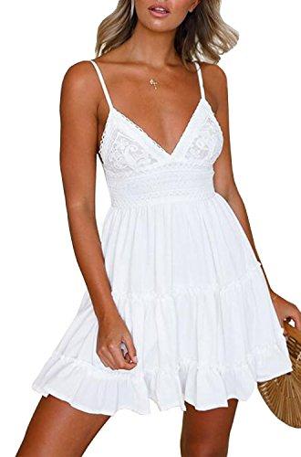Women Sexy Spaghetti Straps Dress Sleeveless Deep V Neck Bowknot Backless Mini Swing Short Dresses,White M