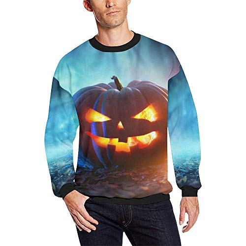 Crew Neck Long Sleeve Sweatshirt Pumpkin 3D Print Men Pullover Tops Funny Halloween Costume Graphic Teen Boys