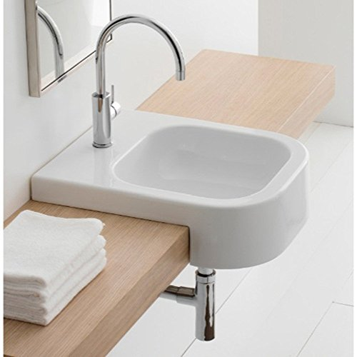Scarabeo 8047/D-One Hole Next Square Ceramic Semi Recessed Sink, White