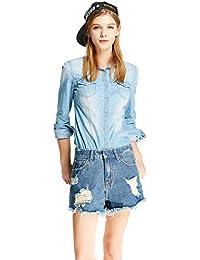 Women's Long Sleeve Classic Slim Denim Shirt