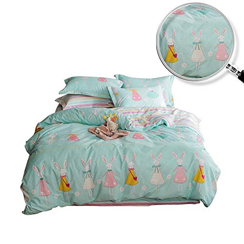 (XUKEJU Reversible 3 Pieces Rabbit Princess Duvet Cover Cartoon Animal Print Bedding Set 100% Cotton Quilt Cover Full/Queen Size Boys/Girls)