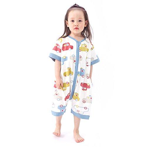 Huluwa Baby Sleeping Bag, Summer Baby Sleep Sack, Children Sleepwear, 100% Cotton Short Sleeve Wearable Blanket for Toddlers Kids, Blue Car, M