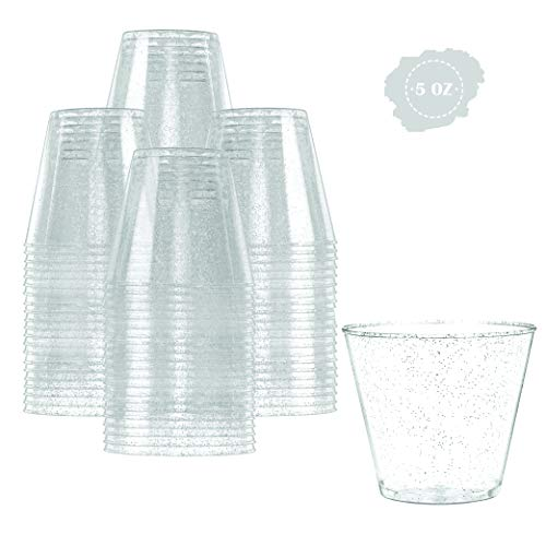 Glitter Disposable Cups | 5 oz. 100 Pack | Clear Plastic Cups | Silver Glitter Plastic Party Cups | Disposable Plastic Wine Glasses for Parties | Plastic Cocktail Glasses | Wedding Holiday Tumblers