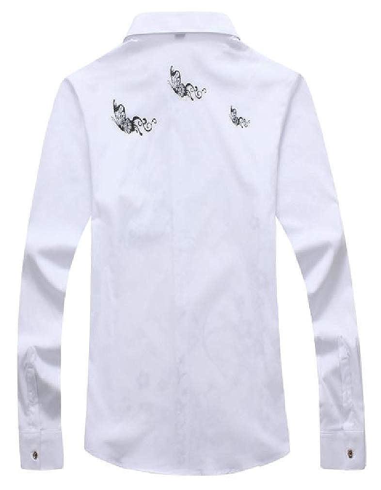 pipigo Mens Lapel Neck Print Casual Curved Hem Button Down Shirts