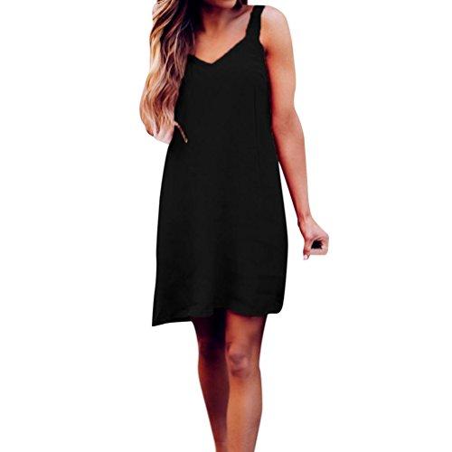 Price comparison product image Mini Dress, Women Franterd Womens Spaghetti Strap Sleeveless Solid Sling Beach Sheath Short Dress (M, Black)