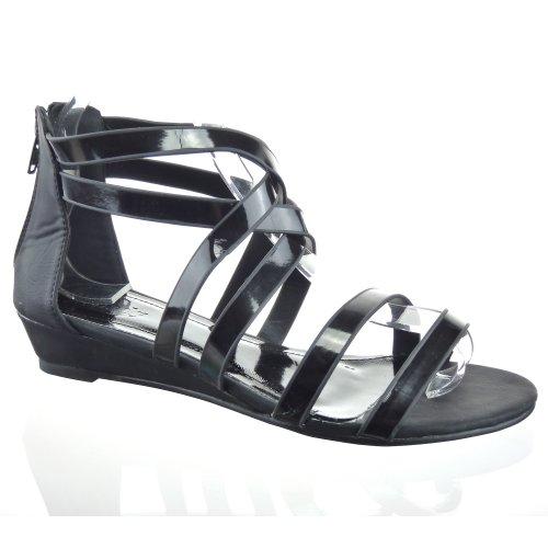 Kickly - Chaussure Mode Sandale Tong Spartiates cheville femmes flashy Talon compensé 3.5 CM - Noir