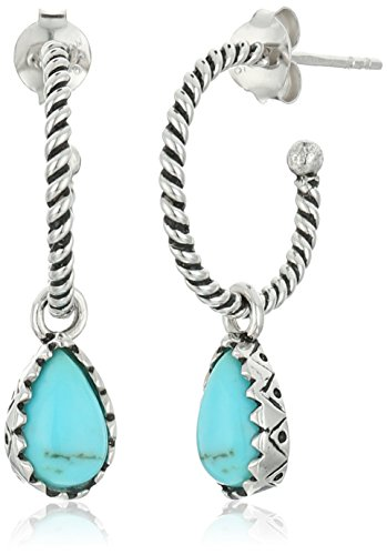 Genuine Turquoise Rope Detail Dangle Earrings