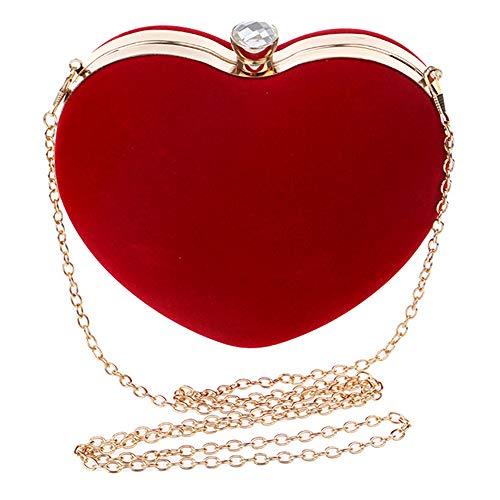 Rebecca Women Girls Heart Shape Handbag Evening Party Tote Purse (Red) (Handbags With Hearts)