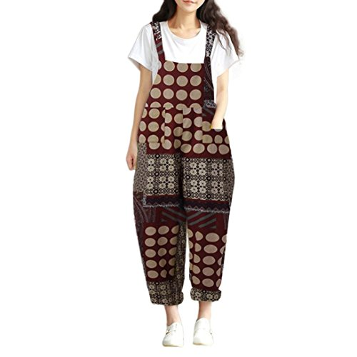 Dungarees 3 (Loose Jumpsuits Floral Print Bohe Loose Bib Pants Dungarees Cotton Overalls Jushye (L, Red))