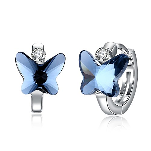 CZ Butterfly Tiny Small Hoop Earrings for Women Teen Girls Cartilage Sleeper Dainty Hoops 925 Sterling Silver with Swarovski Element Crystal Hypoallergenic Gifts for Daugther ()