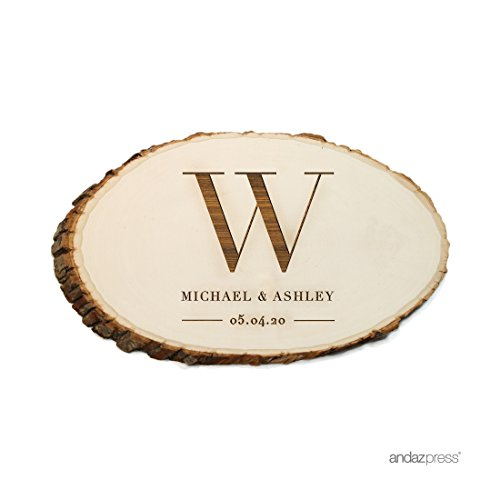 Andaz Press Personalized Laser Engraved Wood Slab, Large Monogram Bride Groom Names and Date, 1-Pack, Custom, Natural Tree Slices For Cakes Rustic Log Bark Table Centerpiece Decor ()