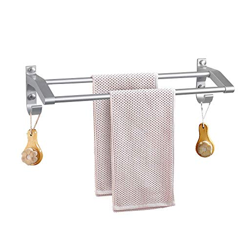 General Double Towel Bar,Towel Racks for Bathroom Shelf with Hooks Wall Mounted Multifunctional Towel Rack,No Drill Glue or Drilling Dual use - Space ()