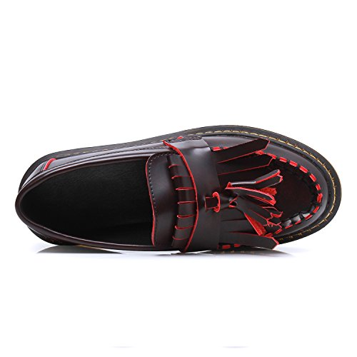 Lady¡¯s Smilun Loafers Tassel Red Shoes Moccasins Flat Boat zPTUwP4q