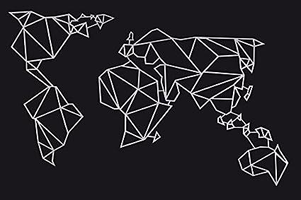 Homemania Decorazione in Metallo Mappa Mondo, Metal, Bianco, W120xd0,15xh60 cm 8681515597814