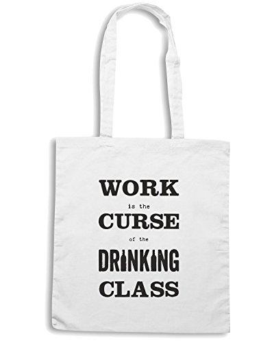 T-Shirtshock - Bolsa para la compra CIT0255 work is the curse of the drinking class Blanco