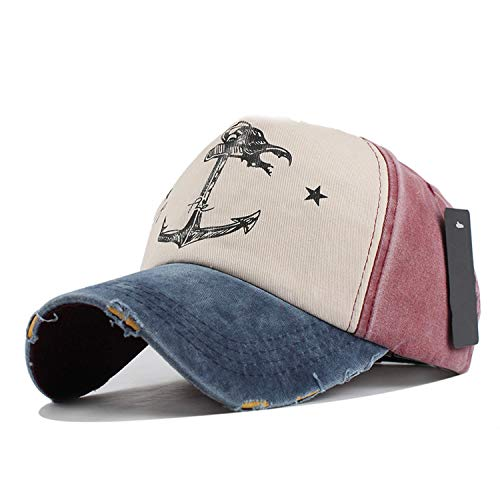 Hip-hop Snapback Hats Couples Unisex Pure Cotton Baseball do Old Pirate Ship Anchor wash,F208 Navy Red ()