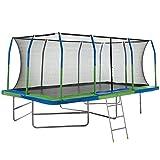 Upper Bounce Mega Outdoor Trampoline with Fiber Flex Enclosure System, 10' X 17' | Big Trampoline for kids | Rectangular adult trampoline | Safe & Fun Great Exercise Trampoline | Bonus 42'' Step Ladder