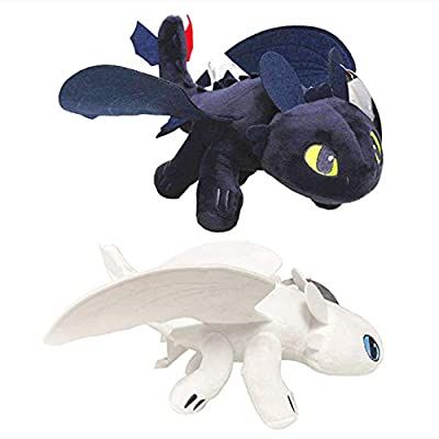 How to Train Your Dragon Toothless Light & Night Fury Soft Toy Features 10inch Plush Deluxe Plush Dragon for Children 2 Pack: Toys & Games