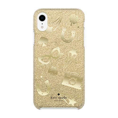 Kate Spade New York Phone Case for Apple iPhone XR Protective Phone Cases with Slim Design Drop Protection and Floral Print, Charm Toss Gold Glitter/Gold Foil