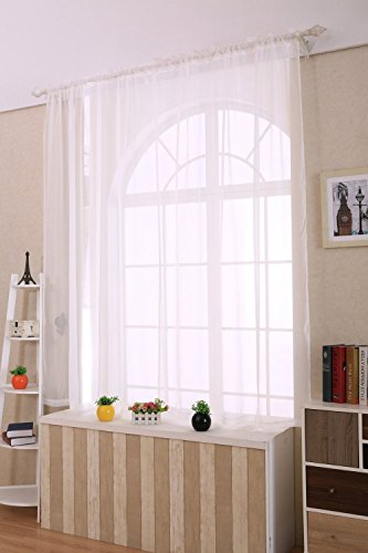 ANTSIR 2 Piece Solid White Sheer Window Curtains/Drape/Panels/Treatment Size 60″x84″
