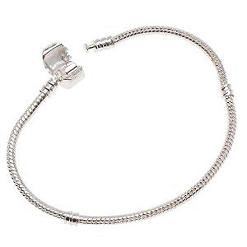 Silver Tone Snake Chain Classic Bead Barrel Clasp Bracelet for Beads (Barrel Link Bracelet)