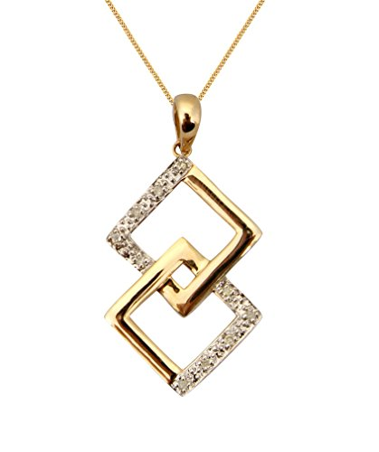 """Or 9ct et Diamant Chaîne et Pendentif Géométrique imbriqués-16""""/40cm -- 45,7cm/45cm--20""""/50mm"""
