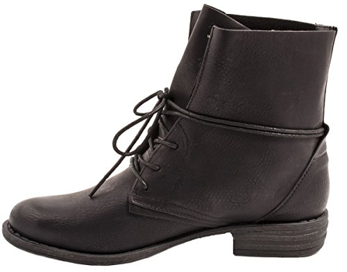 Ayan Botines Negro Aspecto 2 Trendy Piel De Biker Mujer Chunkyr schwarz Elara Boots Cq5wZqz