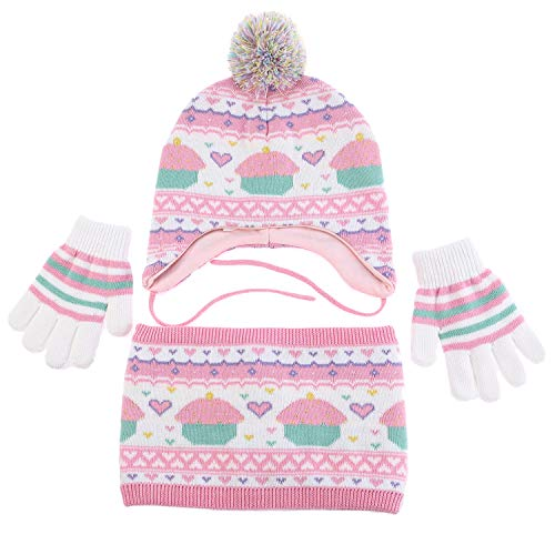Girls Hat Scarf 100% Cotton Knit Pom Pom Earflap Hats Winter Warm Kids Gloves Sherpa Lined Toddler Boys Scarf 3Pcs (M)