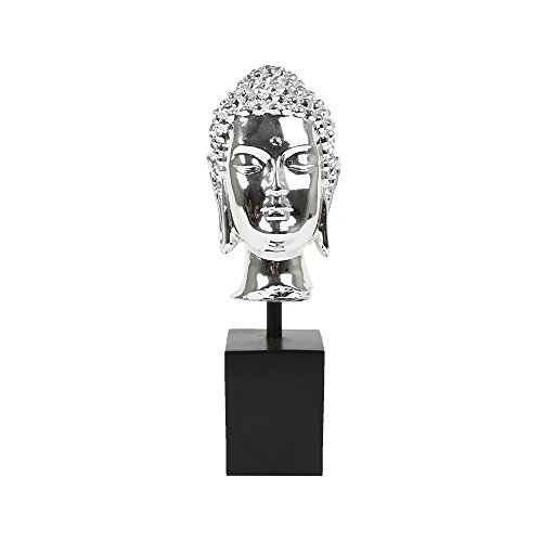 Truu Design Plated Polyresin Buddha Head, 9 inches, Silver (Head Buddha Silver)