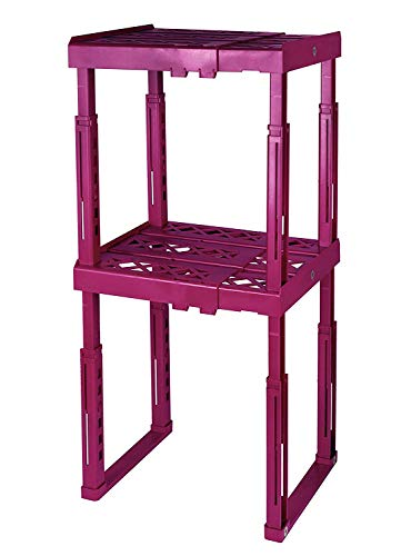 Tools for School Locker Shelf. Adjustable Height and Width. Stackable and Heavy Duty. Holds 40 lbs. per Shelf (2 Pack, Magenta) by Tools for School