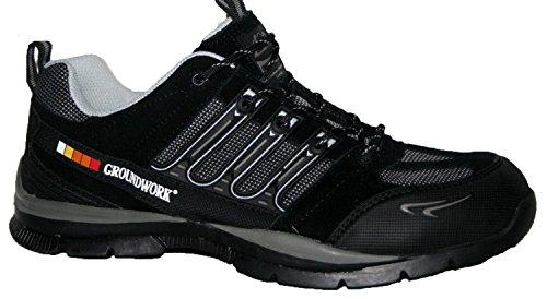 Groundwork Y Trabajo Zapatillas Negro Acero Cordones Hombre Puntera Gr55 Para Con De gris HgfHxY