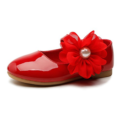 Girls Ballerina School Flower Flat Shoes,Red,Toddler Size 9.5 (Patent Toddler Baby Pink Footwear)