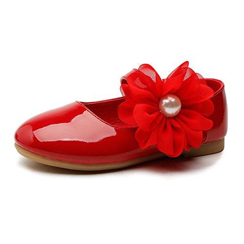 Girls Ballerina School Flower Flat Shoes,Red,Toddler Size -
