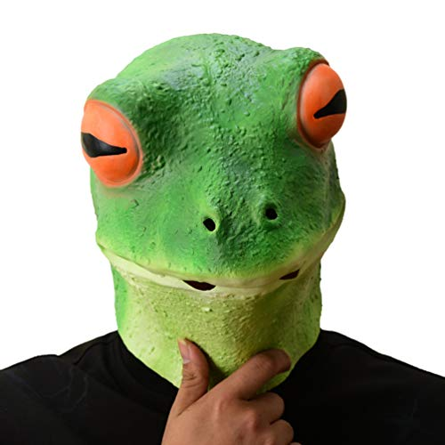 PARTY STORY Frog Mask Halloween Cosplay Costume Latex Animal Head Masks for Adults Party Decoration Props
