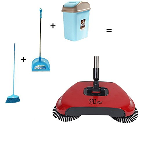 3 in 1 Household Lazy Automatic Hand Push Sweeper Broom 360 Degree Rotating Cleaning Machine Sweeping Tool Without Electricity Dustpan Trash Bin (Red) by SHINENGkeji (Image #3)