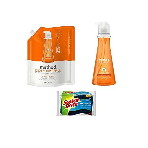 Method Dish Soap Clementine Refill Bundle Includes: 18oz. Soap, 36oz. Refill, 3 Scotch-Brite - San Clementine