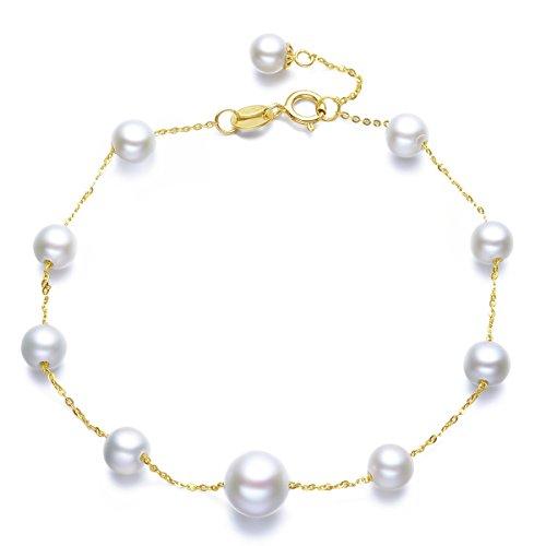 18K Yellow Gold 4.5-5mm 7-7.5mm Freshwater Cultured Pearl Women Chian Link Bracelets