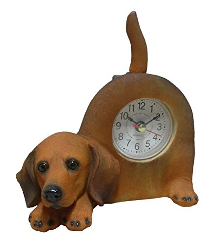 Wagging Table Clock - AIE GF80 Small Dachshund Dog Desk Clock with Wagging Tail