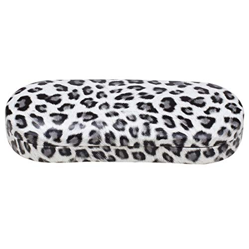 Hard Clamshell Eyeglass Case, Leopard Print Protective Glasses and Sunglasses Holder - For Kids & Adults, Men & Women - Gray - by OptiPlix