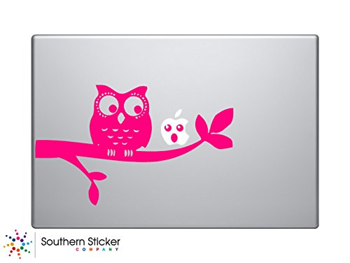 Cute Owl on Branch Apple Face Vinyl Car Sticker Symbol Silho