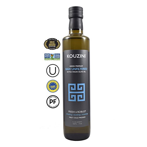 OC Unfiltered Raw Kouzini Extra Virgin Greek Olive Oil | Current Year Harvest 2017/2018 (500ML Bottle) | 100% Fresh and Robust (Olive Oil 500ml Bottle)