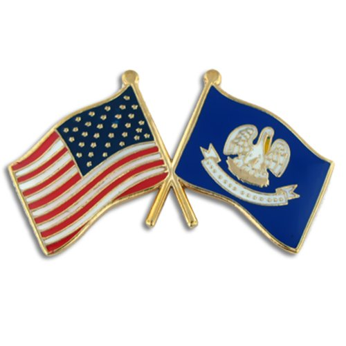 (PinMart Louisiana and USA Crossed Friendship Flag Enamel Lapel Pin)