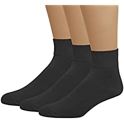 Classic Women's Ledies Plus Size Queen Diabetic Circulatory Non-Binding Loose Top Casual Ankle Quarter Low Cut Cotton Seamless Toe Hosiery Socks 3-Pack Black 10-13