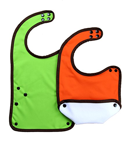 Color of Life Non-toxic SnapDragon Unisex Multi-stage Bibs with Waterproof Spill Pocket – 2 Pack (Orange/Green) Green Side Pocket Bib Apron