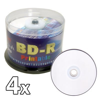 Melody 50 pcs BD-R Blu-ray Recordable White Inkjet Printable Blank Disc, 25GB, 1-4x by Melody