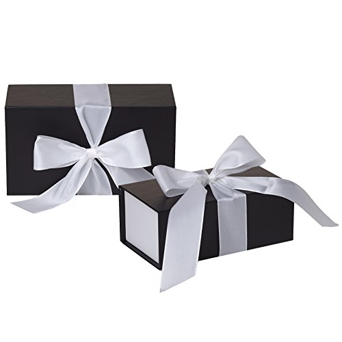 Jillson Roberts 4-Count Large Ribbon-Tie Closure Gift Boxes, Sophisticate Black Matte