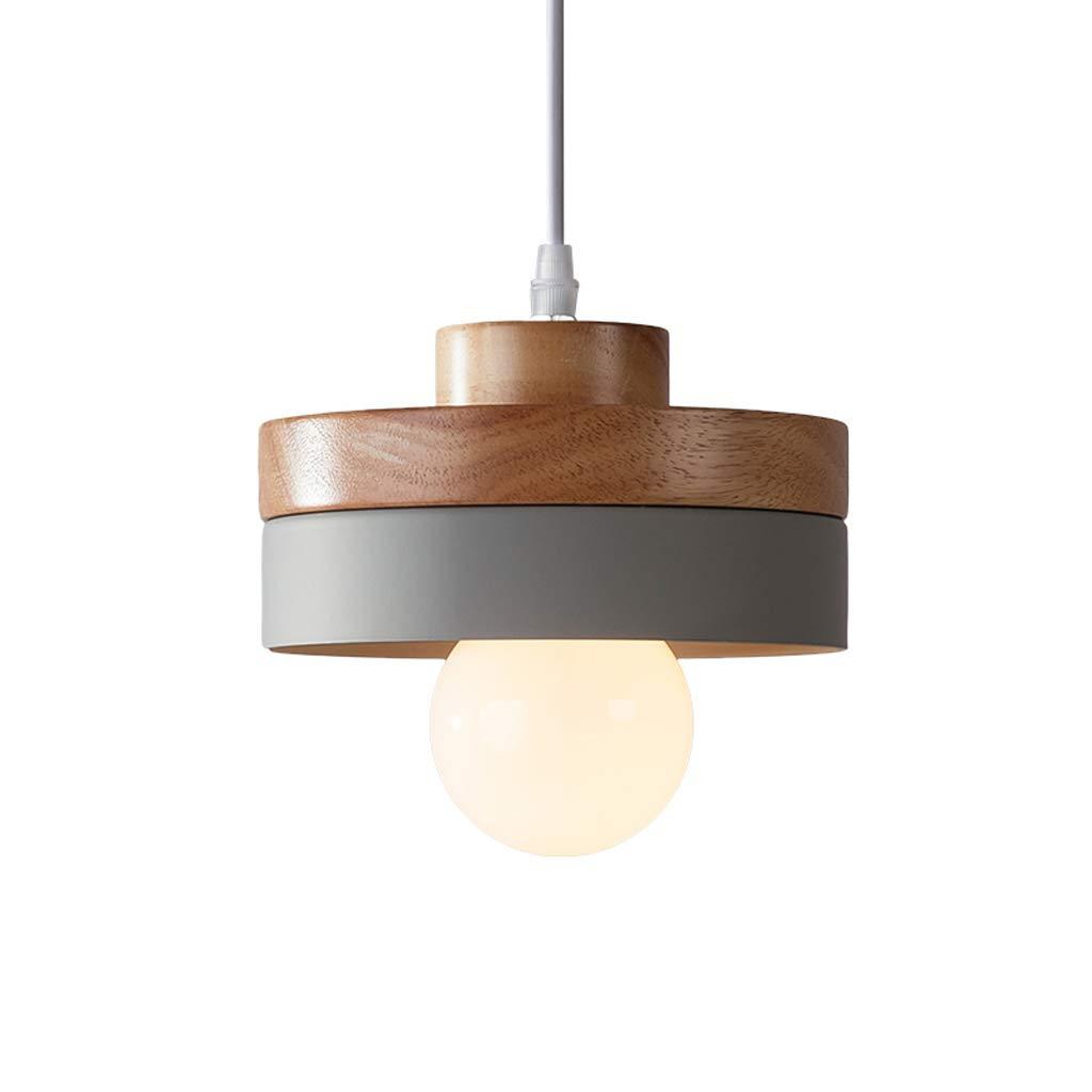 Good chandelier Lampe De Salle À Manger En Bois De Style Scandinave Simple, Lampe De Chambre Des Enfants Mignonne Chambre Chevet Ronde Petit Lustre Décoratif (gris)