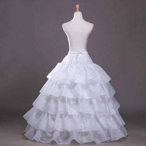 Edith qi Petticoat Enagua 3/4/6 Aros, Largo Miriñaque, Crinolina Vestido de Novia, Aros Ajustable, Un tamaño, Conveniente para el tamaño XS-XXL 4p-blanco
