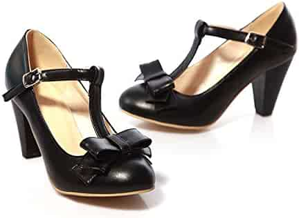 8402312e0fd Susanny Women s Chic Sweet Round Toe T-Strap Bows Adorable Buckle High Cone  Heel Mary